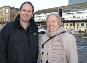 Cllrs Jill Whitehead and Colin Hall outside Sutton Station