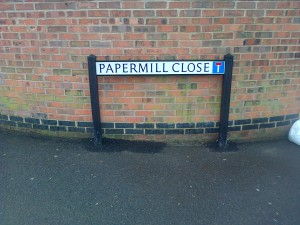 One of two of the New Road Name Plates for Papermill Close
