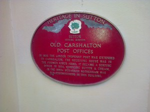 Old Carshalton Post Offices sign by the old bank, 3 High Street