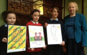Walk to school poster prize winners and Cllr. Jill Whitehead at Honeywood Museum