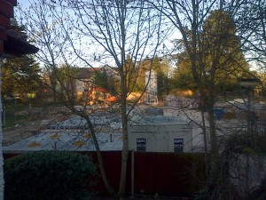 Foundations of the new mews houses in Cedar Close