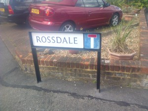 Rossdale road name sign repainted as requested by local councillors