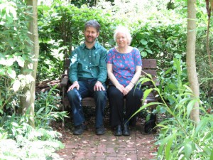 Hamish and Jill having a sit-down in the grounds of the Ecology CVentre