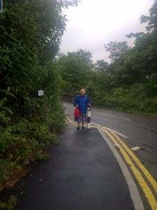 Cllr. Jill Whitehead at the Kings Lane south bridge where the pavement was widened by Sutton Council recently
