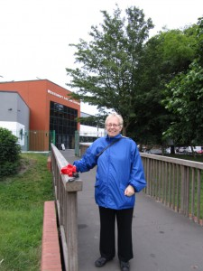 Councillor JilL Whitehead pictured in The Grove Park by the bridge to Westcroft Leisure Centre