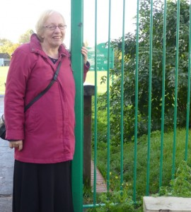 Cllr. Jill Whitehead at The Grove Park gate off Westcroft Centre