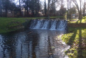 Carshalton Place canal's waterfall