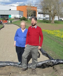 Jill and Hamish on the new cycle path in The Grove Park