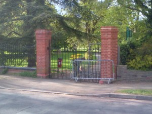 The south-east gate to Carshalton Park next to 4 Ashcombe Road