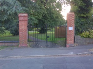 The Rebuilt Piers to the Carshalton Park South-East Gate off Ashcombe Road