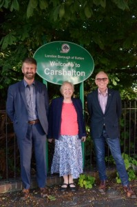 Hamish, Jill and Chris by the new Welcome to Carshalton sign in West Street